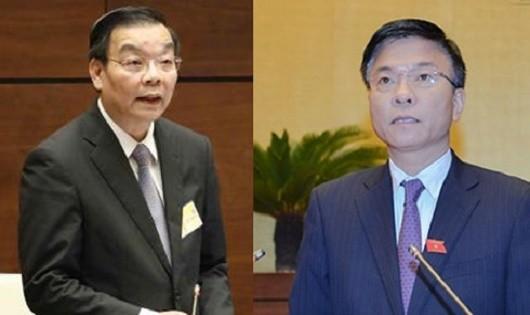 Bộ trưởng Bộ Khoa học và Công nghệ Chu Ngọc Anh  (trái) và Bộ trưởng Bộ Tư pháp Lê Thành Long