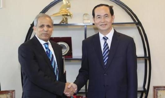 Chủ tịch nước Trần Đại Quang tiếp Lãnh đạo Liên đoàn các Phòng Thương mại và Công nghiệp Bangladesh (FBCCI) Shafiul Islam. Ảnh: Nhan Sáng/TTXVN