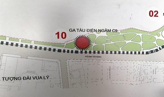 Vị trí Hà Nội dự kiến xây dựng ga tàu điện ngầm C9 cạnh hồ Hoàn Kiếm