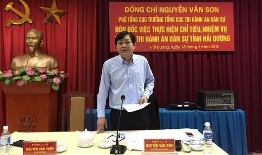 Phó Tổng cục trưởng Tổng cục THADS Nguyễn Văn Sơn phát biểu tại buổi làm việc.