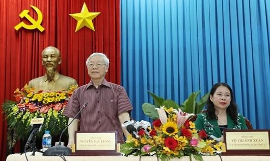Tổng Bí thư Nguyễn Phú Trọng phát biểu tại buổi làm việc với cán bộ chủ chốt tỉnh An Giang.