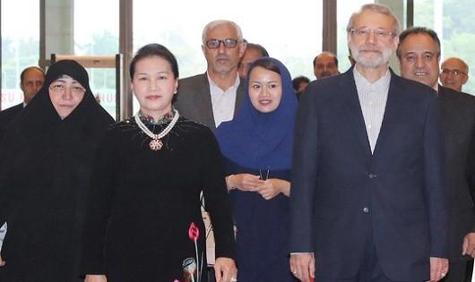 Chủ tịch Quốc hội Nguyễn Thị Kim Ngân đón Chủ tịch Quốc hội Iran Ali Ardeshir Larijani Ảnh: TTXVN
