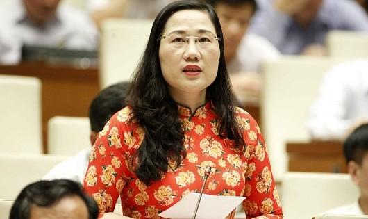 ĐB Nguyễn Thị Thủy (Đoàn Bắc Kạn) cho ý kiến tại phiên họp.