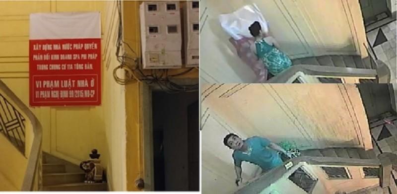 Bà Lê Êlêna phản đối việc kinh doanh của bà Trang bằng cách treo băng rôn ngay tại chân cầu thang (Ảnh: NVCC)