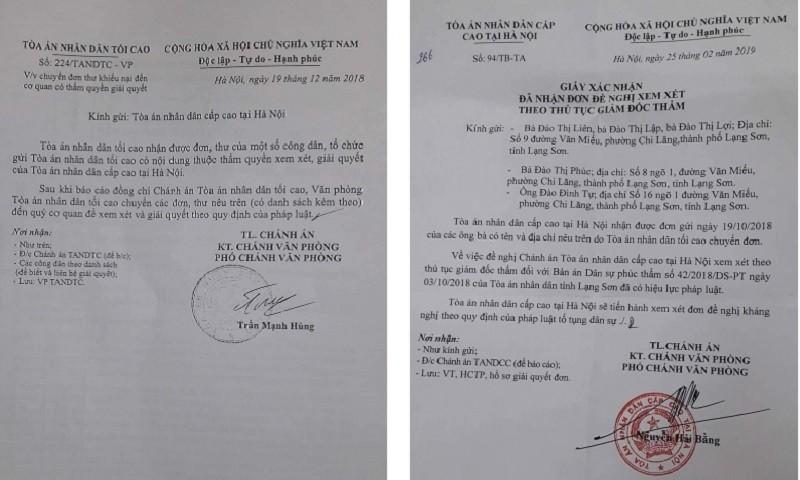 Văn bản của TAND Tối cao và TAND Cấp cao tại Hà Nội về vụ án này.
