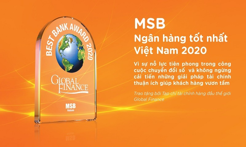 """MSB được vinh danh là """"Ngân hàng tốt nhất Việt Nam năm 2020"""""""