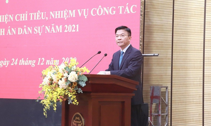 Bộ trưởng Lê Thành Long dự và chỉ đạo Hội nghị triển khai công tác THADS năm 2021 của TP Hà Nội.