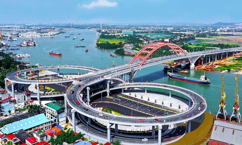 Cầu Hoàng Văn Thụ kết nối hạ tầng khu đô thị mới Bắc sông Cấm - Thủy Nguyên.