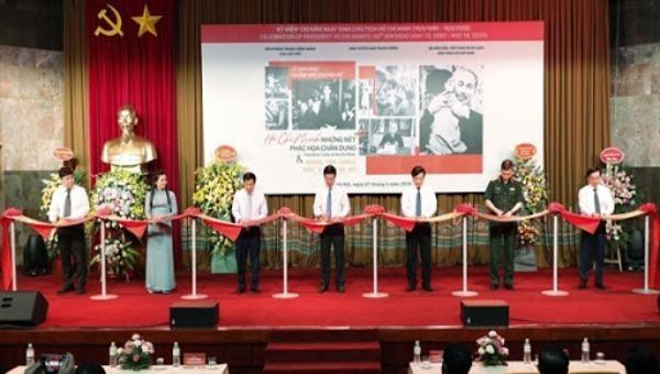 """Các đại biểu cắt băng khai mạc trưng bày chuyên đề """"Hồ Chí Minh - Những nét phác họa chân dung"""""""