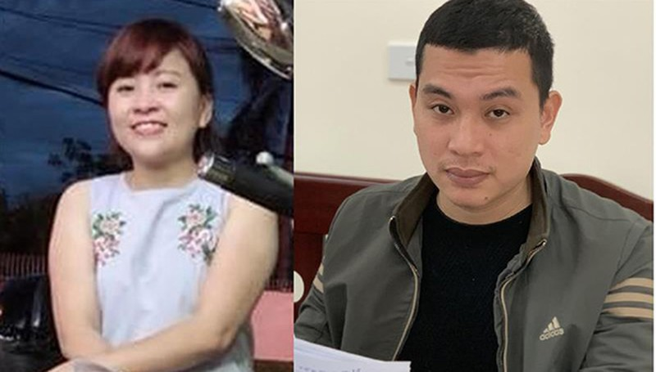Đối tượng Lê Thị Huyền Trang (ảnh Facebook nhân vật) và Phan Văn Thịnh tại cơ quan Công an