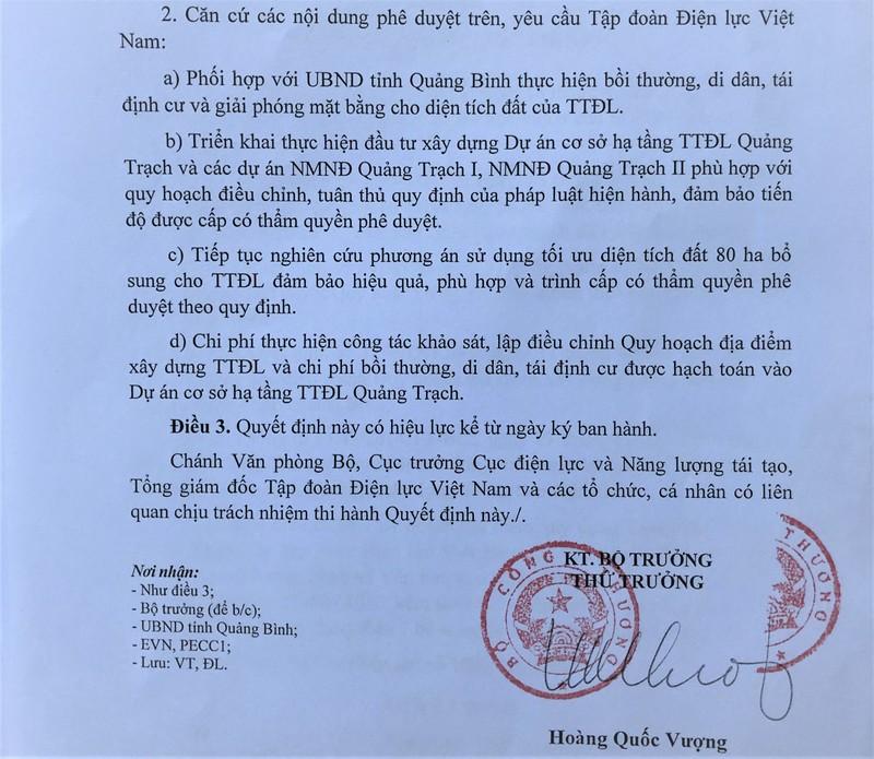 Theo Quyết định phê duyệt điều chỉnh quy hoạch do Bộ Công thương ban hành hôm 21/11, TTĐL Quảng Trạch có tổng diện tích 540 ha