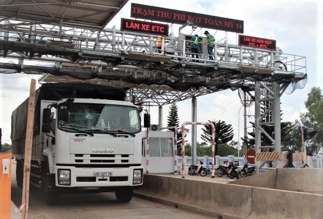 BOT Toàn Mỹ trên QL14  là 1 trong 3 trạm đang được thử nghiệm giám sát việc thu phí đường bộ.