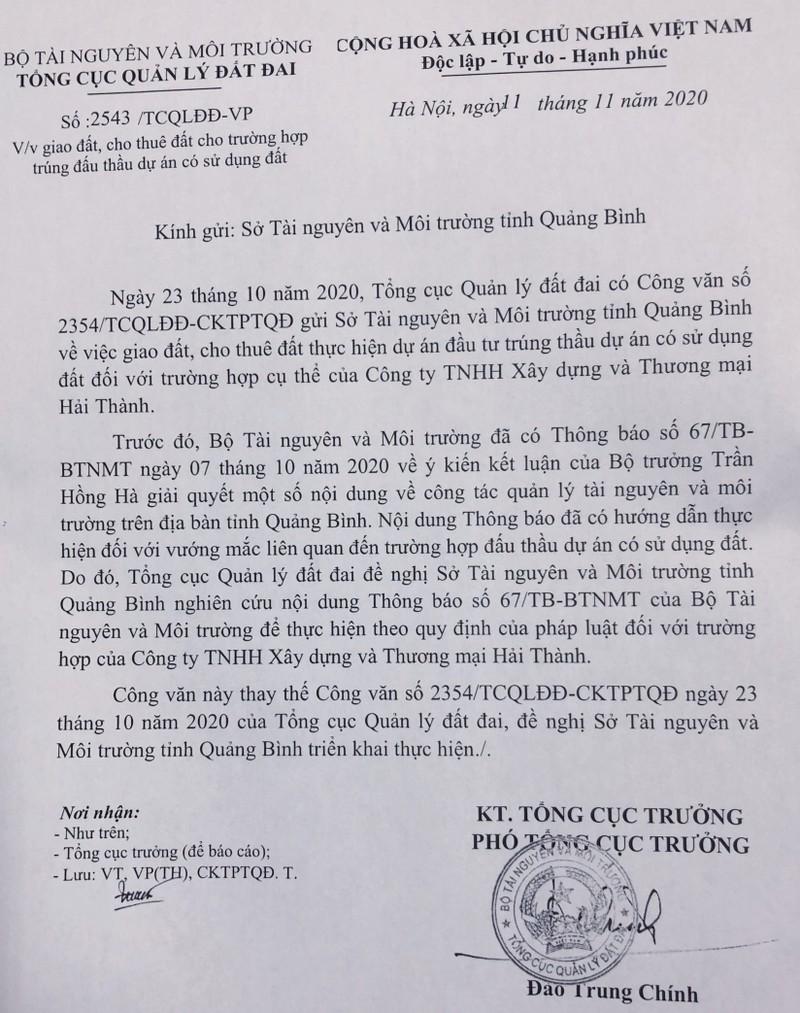 Phó Tổng cục trưởng Đào Trung Chính ký văn bản 2543/TCQLĐĐ-VP thu hồi văn bản 2354/TCQLĐĐ-CKTPTQĐ cũng do ông bút phê hôm 23/10 trái kết luận của Bộ trưởng Trần Hồng Hà