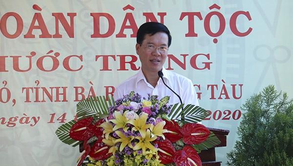 Đồng chí Võ Văn Thưởng phát biểu tại ngày hội đại đoàn kết toàn dân.