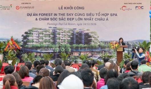 Bà Lê Thị Vân Anh – Tổng Giám đốc công ty Cổ phần Hồng Hạc Đại Lải phát biểu tại buổi lễ. Ảnh: Hương Phan.