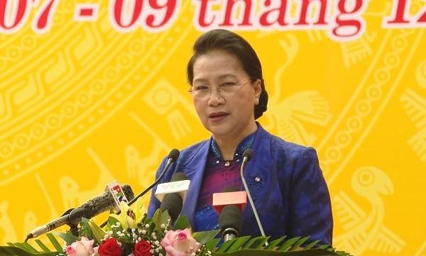 Chủ tịch Quốc hội Nguyễn Thị Kim Ngân phát biểu tại kỳ họp 11 HĐND tỉnh Phú Thọ khoá XVIII.