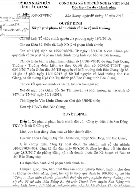 UBND tỉnh Bắc Giang phạt hành chính 400 triệu đối với hành vi vi phạm của Công ty nhiệt điện Sơn Động.