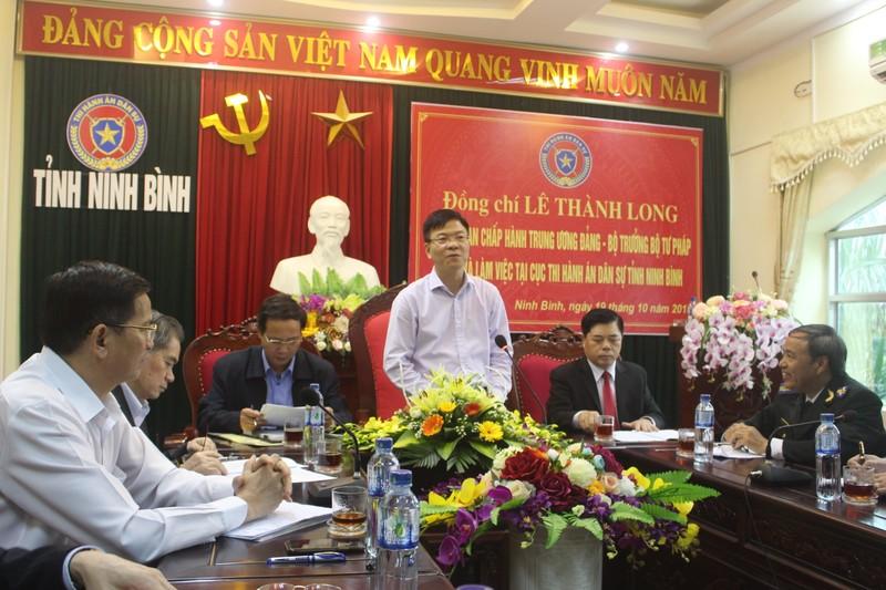 Bộ trưởng Lê Thành Long biểu dương lực lượng Thi hành án dân sự Ninh Bình