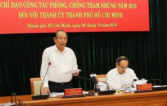 Ủy viên Bộ Chính trị, Phó Thủ tướng Thường trực Chính phủ Trương Hòa Bình phát biểu tại buổi làm việc