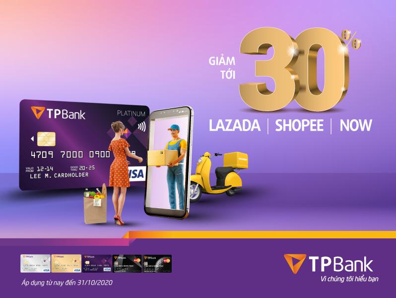 Ưu đãi lên tới 30% với chủ thẻ tín dụng TPBank