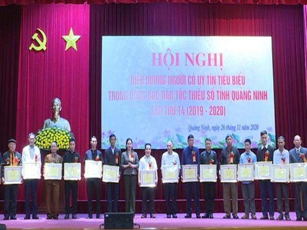 Quảng Ninh tặng bằng khen cho 20 cá nhân là người có uy tín tiêu biểu