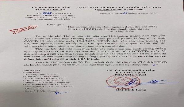 Công văn hoả tốc của UBND tỉnh Nghệ An