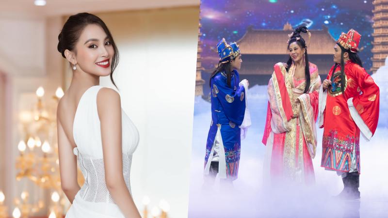 """Hoa hậu Tiểu Vy gây bất ngờ khi tham gia chương trình hài """"Táo Xuân""""."""