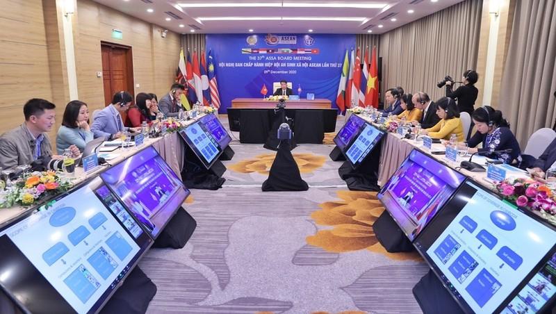 Toàn cảnh Hội nghị trực tuyến tại điểm cầu Việt Nam.