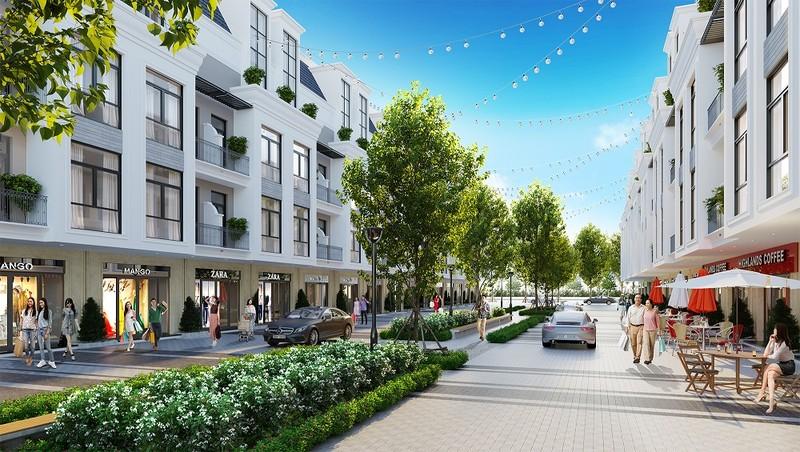 Tổ hợp căn liền kề, nhà phố thương mại hiện đại của dự án Hinode Royal Park.