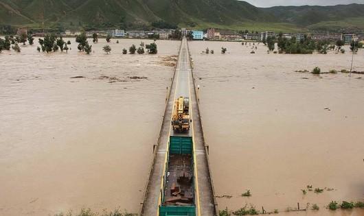 Nước lũ từ con sông Tumen ở tỉnh North Hamgyong.