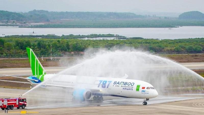 Lễ chào đón máy máy Boeing 787-9 Dreamliner đầu tiên của Bamboo Airways tại Cảng hàng không Vân Đồn (tỉnh Quảng Ninh)