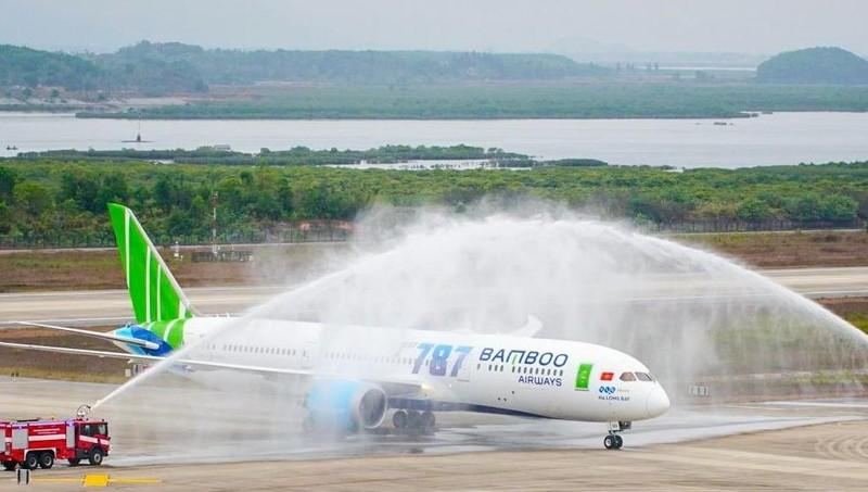 Lễ chào đón máy máy Boeing 787-9 Dreamliner đầu tiên của Bamboo Airways tại Cảng hàng không Vân Đồn - Tỉnh Quảng Ninh