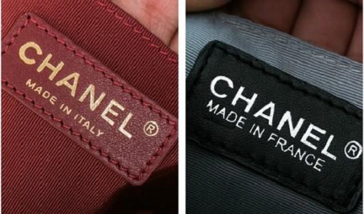 Đường chỉ trên sản phẩm nhái (phải) của Louis Vuitton không đẹp mắt và tinh xảo như mẫu túi thật (phải).