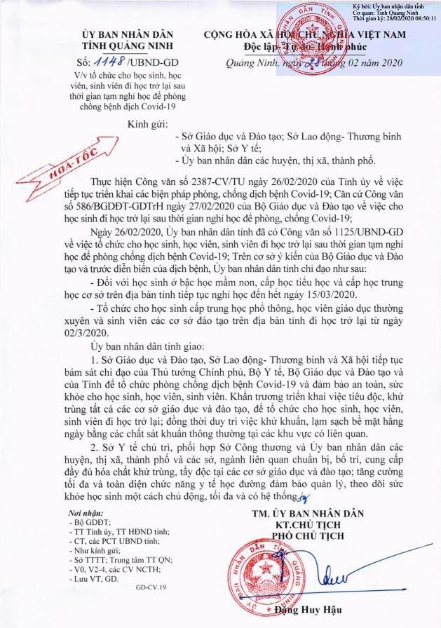Quảng Ninh cho học sinh từ mầm non đến lớp THCS nghỉ học thêm 2 tuần