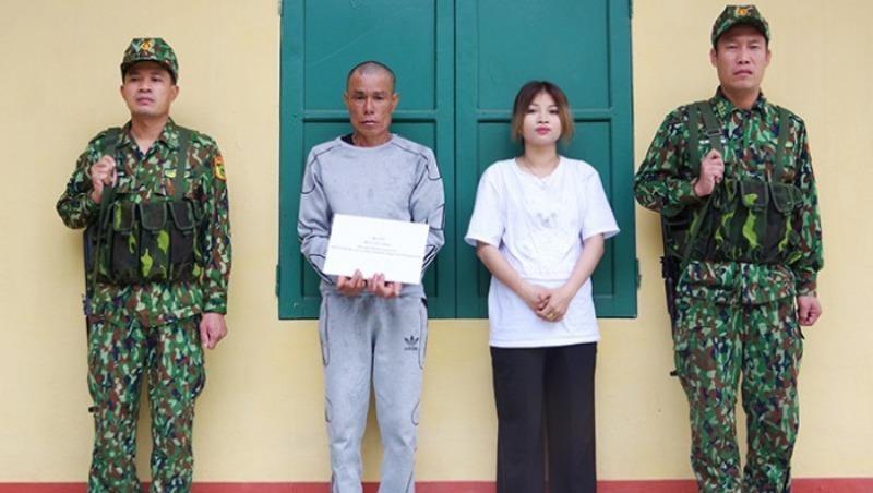Đối tượng Công và phụ nữ vượt biên trái phép bị lực lượng chức năng bắt giữ.