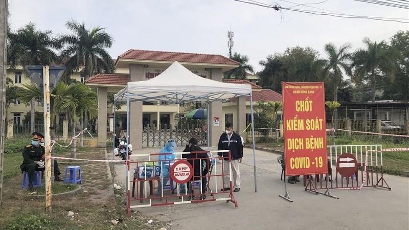 Phong tỏa Bệnh viện Giao thông Vận tải, phường Hùng Vương, quận Hồng Bàng. Ảnh: haiphong.gov.vn