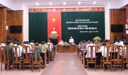Hội nghị sơ kết và triển khai nhiệm vụ 6 tháng cuối năm 2018 của Hội đồng phối hợp PBGDPL tỉnh Quảng Bình.