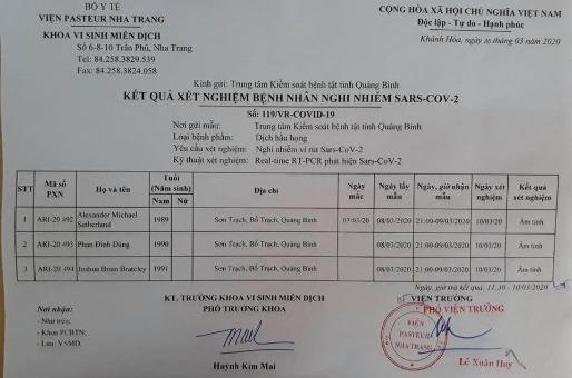 Kết quả xét nghiệm từ Viện Pasteur Nha Trang đối với 3 mẫu từ Quảng Bình.