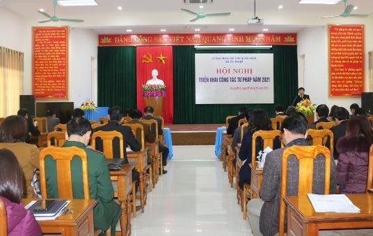 Hội nghị triển khai công tác năm 2021 của Sở Tư pháp tỉnh Quảng Bình.