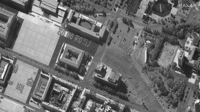 Hình ảnh chụp từ vệ tinh ngày 17/9 cho thấy cuộc diễn tập duyệt binh tại Quảng trường Kim Nhật Thành ở Bình Nhưỡng, Triều Tiên. Ảnh: AP
