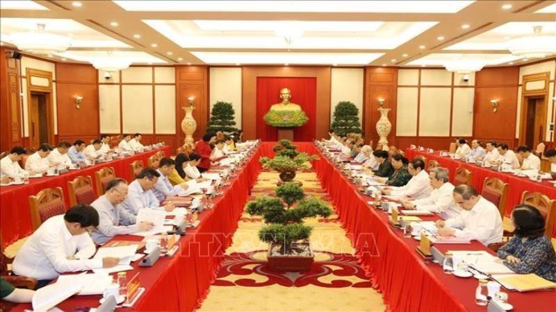 Tổng Bí thư, Chủ tịch nước Nguyễn Phú Trọng chủ trì buổi làm việc của Bộ Chính trị với Ban Thường vụ Thành ủy Hà Nội, ngày 19/9.