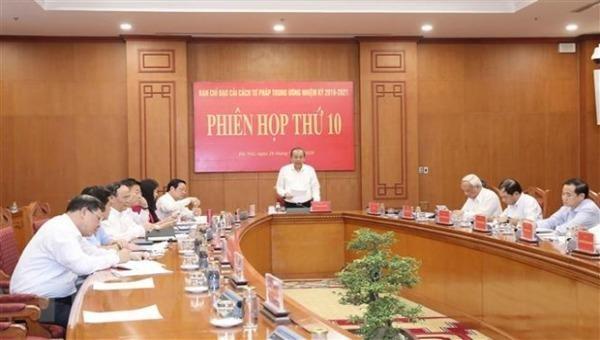Phó Thủ tướng Thường trực Chính phủ, Phó Trưởng Ban Chỉ đạo Trương Hòa Bình chủ trì phiên họp. Ảnh: Phương Hoa/TTXVN