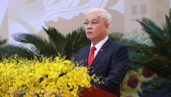 Ông Nguyễn Văn Lợi, Bí thư Tỉnh ủy Bình Phước khóa X tái đắc cử Bí thư Tỉnh ủy khóa XI, nhiệm kỳ 2020-2025. (Ảnh: Sỹ Tuyên/TTXVN)