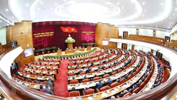 Ngày làm việc thứ hai Hội nghị thứ 13 Ban Chấp hành TW Đảng khóa XII. Ảnh: TTXVN