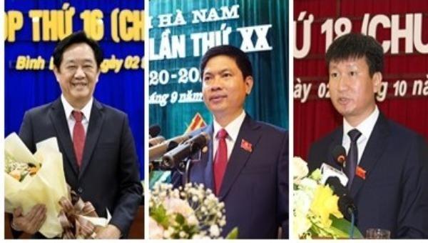 Chủ tịch UBND tỉnh Bình Dương Nguyễn Hoàng Thao; Chủ tịch UBND tỉnh Hà Nam Trương Quốc Huy; Chủ tịch UBND tỉnh Yên Bái Trần Huy Tuấn (từ trái sang phải). Ảnh: VGP