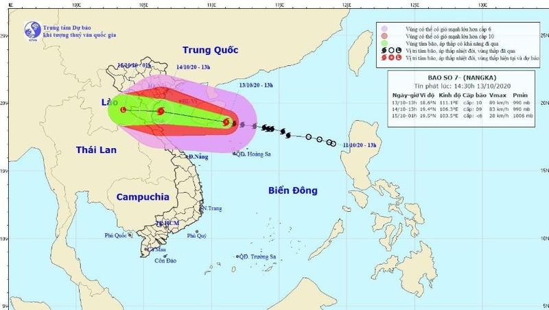 Hướng đi dự kiến của bão số 7. Ảnh: Trung tâm KTTV Quốc gia.