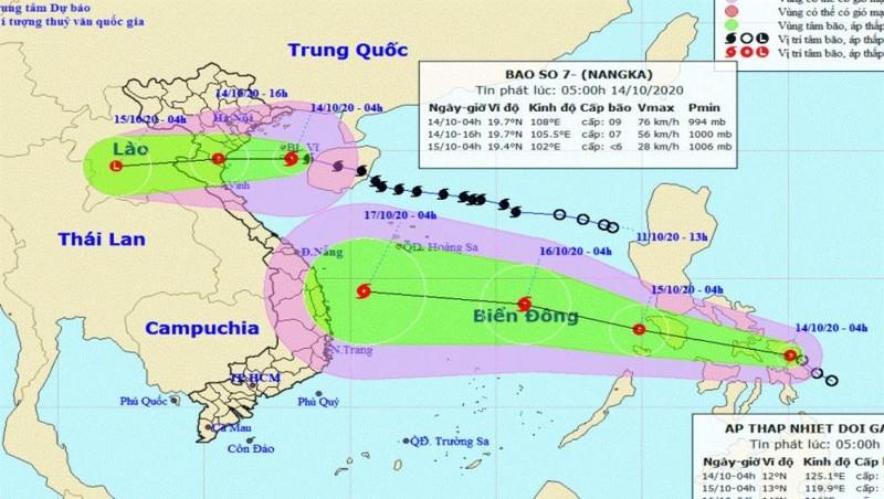 Bão số 7 giật cấp 11 đang hướng vào các tỉnh Thái Bình-Nghệ An