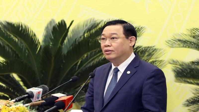 Bí thư Thành ủy Hà Nội Vương Đình Huệ phát biểu tại kỳ họp thứ mười tám, HĐND thành phố Hà Nội khóa XV. Ảnh: Viết Thành