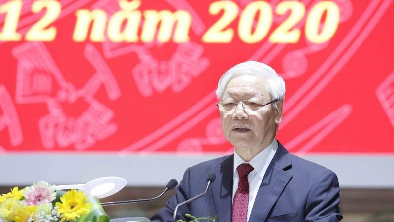Tổng Bí thư, Chủ tịch nước Nguyễn Phú Trọng phát biểu chỉ đạo tại Hội nghị. Ảnh: TTXVN