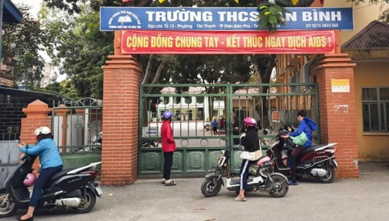 Trường Trung học sơ sở Tân Bình - nơi xảy ra sự việc phụ huynh hành hung học sinh trong lớp. Ảnh:VOV